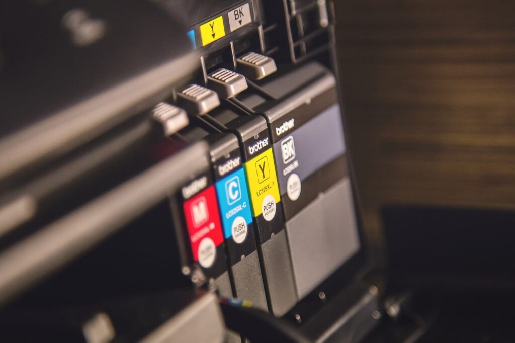 Toner cartridges in printer.